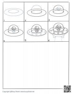 Free printable drawing sheet how to draw a spaceship