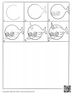 Drawing practice free printable to draw a narwhal