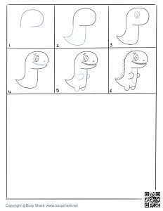 Free printable drawing practice page for Trex dinosaur