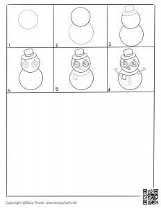 Free printable snowman drawing practice page