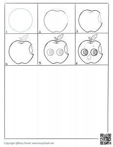Drawing practice free printable page for an apple with a bite