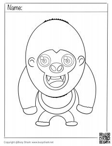 a gorilla standing up ,download free coloring page