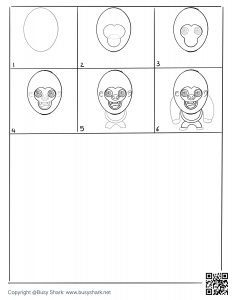 download free drawing page for a gorilla standing up , 6 steps