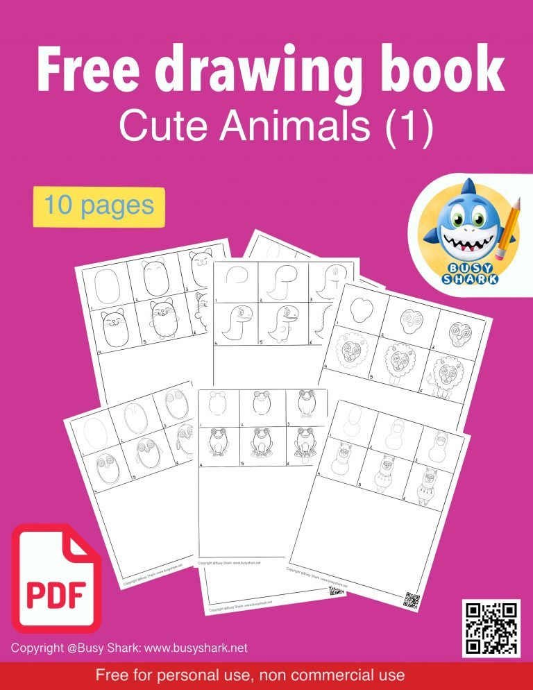 Download free drawing guide pdf book for kids and beginners , 10 pages