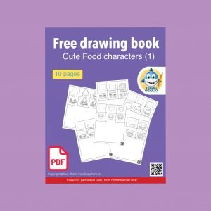 Download free printable cute food characters drawing book, 10 pages and each page contains 6 steps drawing tutorial