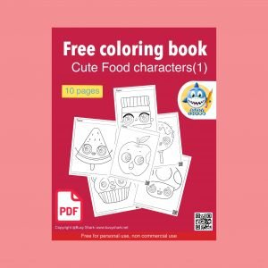 Download free printable cute food characters coloring book, 10 pages