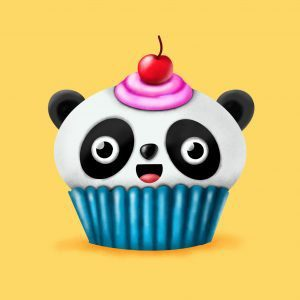 Step by step drawing tutorial . How to draw a cute Panda cupcake