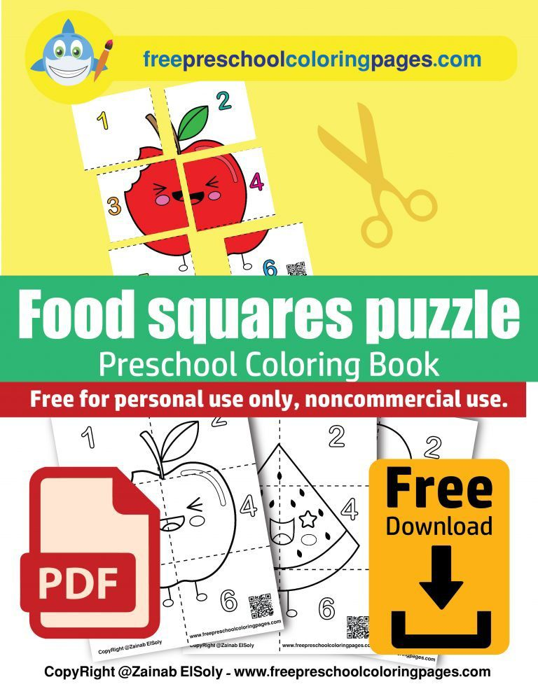 kawaii food puzzle squares free preschool coloring book count from 1 to 6 pdf free download