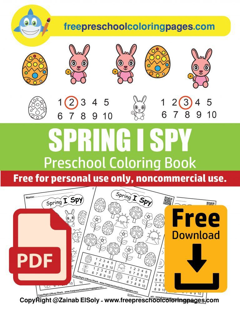 1 spring i spy free preschool coloring pages free printable easter game activity for kids PDF free book download