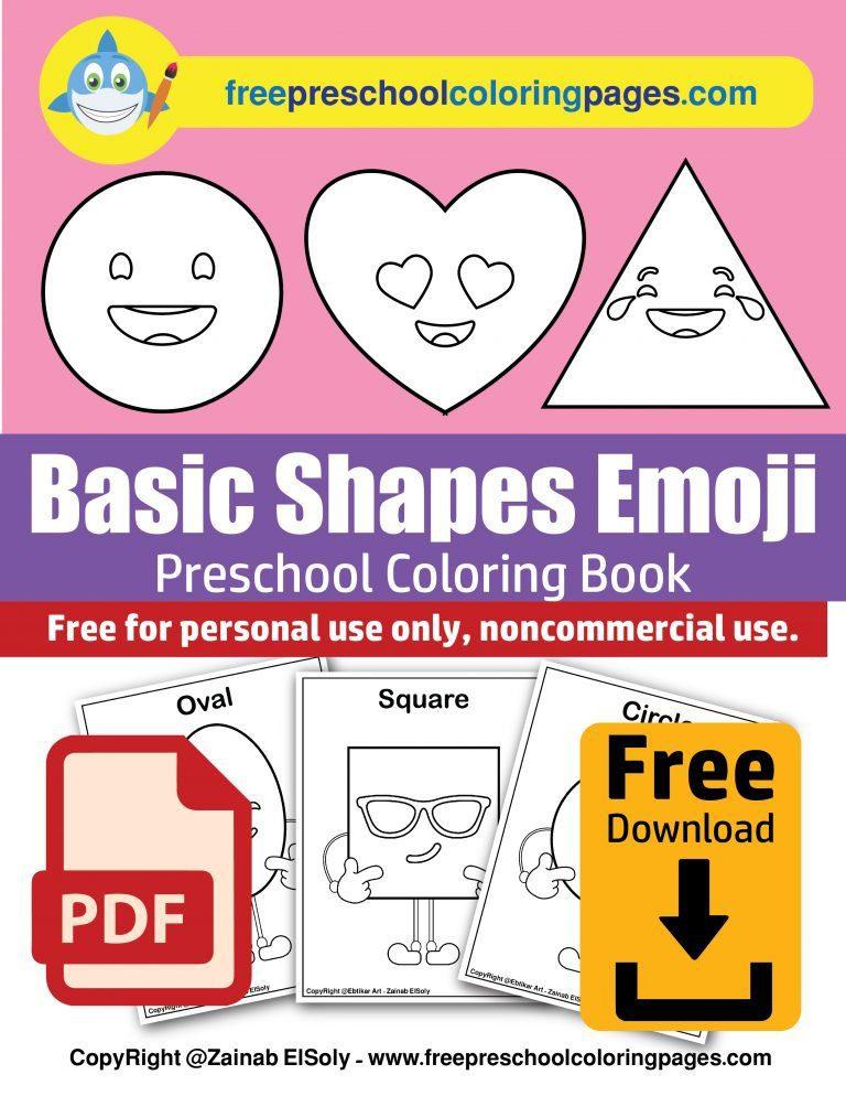 basic shapes emoji cartoon faces free preschool coloring book pdf free download