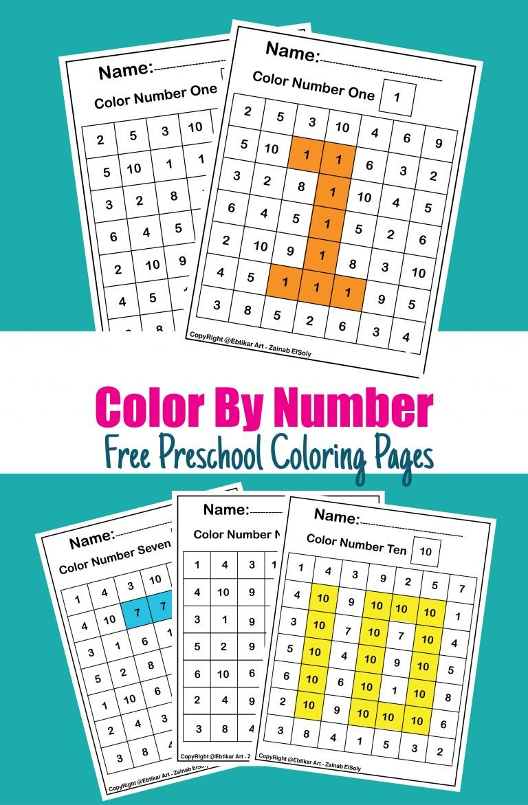123 color by number squares pixels for toddlers