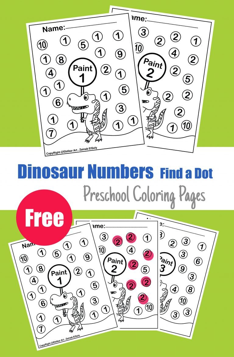 123 dinosaur dot alphabet activity paint dot fot toddlers