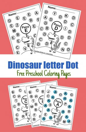 ABC dinosaur dot alphabet activity paint dot fot toddlers